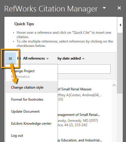 Change Citation Style option
